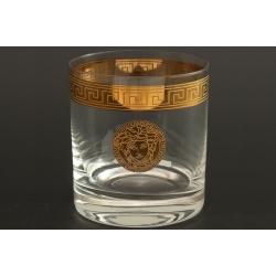 Стакан для виски 280 мл Гольф декор «Версаче»+ золото выполнен в технике диарит