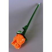 Цветок стекл. роза оранж