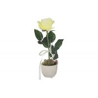 Декоративные цветы Роза жёлтая в керамической вазе