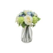 Декор.цветы Розы белые и гортензии салатовые в стекл.вазе