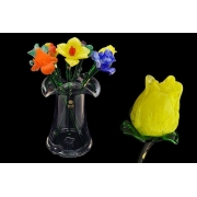 Цветок стеклянный тюльпан желтый