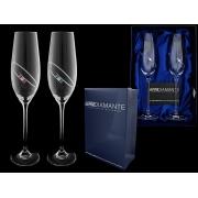 Набор бокалов для шампанского (2 шт) Орбита с цветными кристаллами