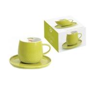 Чашка с блюдцем светло-зелёная Капли дождя