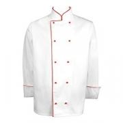 Куртка поварская с окант. 54разм., твил, белый,красный