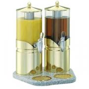 Диспенсер для сока двойной 2.5л*2; сталь нерж.; золотой,прозр.