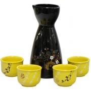 Набор для сакэ 5 пр Черно-желтый с цветами