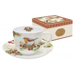 Чашка с блюдцем Снегири в подарочной упаковке