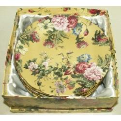 Набор из 6 обеденных тарелок «Цветы на золоте» 25 см