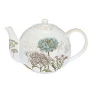 Чайник с ситечком Ботаника (бело-бежевый) в индивидуальной упаковке
