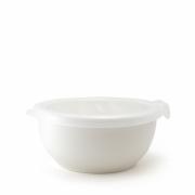 Фарфоровый лоток с пластиковой крышкой цвет - Белый
