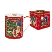 Кружка (красная) Дед Мороз со списком подарков