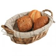 Корзина для хлеба с чехл. с ручк. полиротанг; H=15,L=27,B=24см; коричнев.
