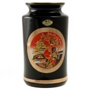 Ваза черная прямая 12см Пагода и японка