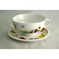 Суповая чашка на блюдце «Фруктовое ассорти»  0, 5 л