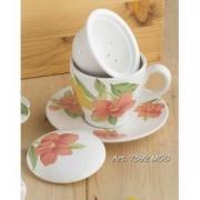 Чашка с блюдцем с керамическим ситечком и крышкой 14см