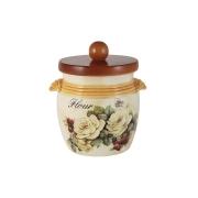 Банка для сыпучих продуктов с деревянной крышкой (мука) Роза и малина