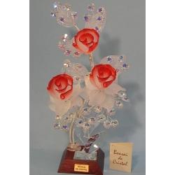 Бонсай с розами красный, 28 см.