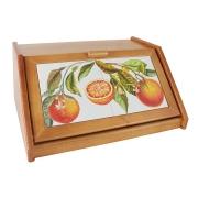 Деревянная хлебница с керамическими вставками Апельсины