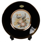 Тарелка декоративная 15 см черная с подставкой Райский сад