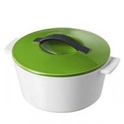 Кастрюля для запекания с крышкой, керамика, 1.5л, D=19,H=12.5см, белый,зелен.