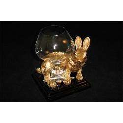 Бокал для коньяка с подогревателем на подставке «Кролик» золотой