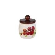 Банка для сыпучих продуктов с деревянной крышкой Овощное ассорти, малая
