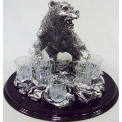 Набор для водки «Медведь» Посеребренный металл