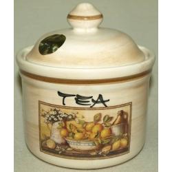 Банка для сыпучих продуктов с керамической крышкой (чай) «Лимоны» 0,5 л