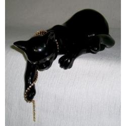 Статуэтка «Кошка» (черная).Керамика.Длина - 22 см, высота -11,5 см