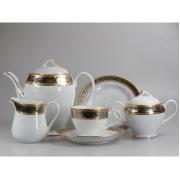 Сервиз чайный 12 перс 41 пр серебро с золотом