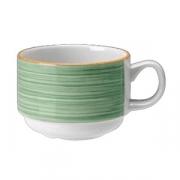 Чашка чайная «Рио Грин»; фарфор; 200мл; белый,зелен.