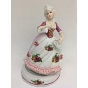Фарфоровая музыкальная статуэтка «Девушка с веером» 18 см