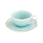 Чашка для кофе с блюдцем Artesanal (зел-голубая) без инд.упаковки