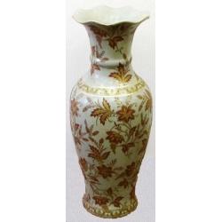 Бежевая ваза с листьями без ручек 61 см. Керамика