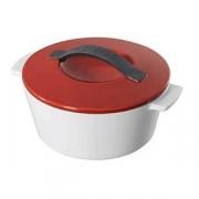 Кастрюля для запекания с крышкой, фарфор, 500мл, D=136,H=85мм, белый,красный