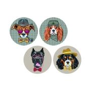 Набор из 4-х керамических подставок Собаки в очках