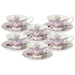 Набор: 6 чашек + 6 блюдец Райский сад в подарочной упаковке