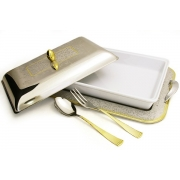 Блюдо для горячего с крышкой на подносе с ложкой и вилкой «Dubai Gold/Silver»