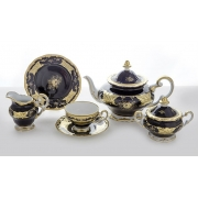 Сервиз чайный на 6 перс. 21 пред. подарочный «Кленовый лист синий»