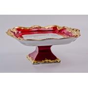 Блюдо квадатное 21 см на ножке «Ювел красный»