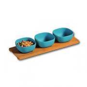 Набор салатников на дер.подст. [3шт]; фарфор,дерево; D=95,H=45мм; синий,древесн.