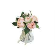 Декоративные цветы Розы розовые в стекл вазе