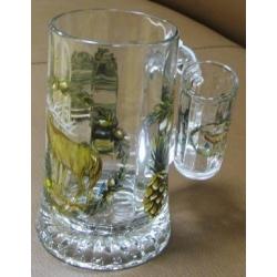 Пивная кружка стеклянная с рюмкой «Олень», 0.5 л
