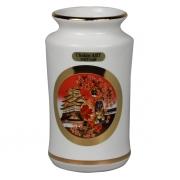 Ваза 11 см белая прямая Японка и сакура