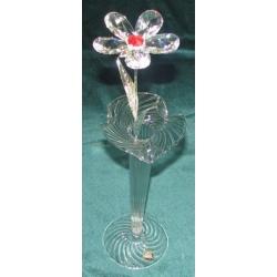 Хрустальный цветок на металлическом стебле (красный)31 см