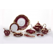 Сервиз чайный 210 мл. на 12 перс. 54 пред. «Ювел красный»