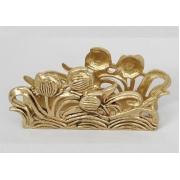 Салфетница «Цветы» золотистый 6,5х15 см.