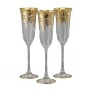 Бокал для шампанского 6 шт Флора - золото