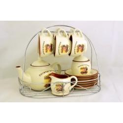 Чайный сервиз на 6 персон (чашки, блюдца, чайник, сахарница, молочник) «Деревенское утро»