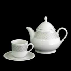 Чайный сервиз 6/9 (чашка низкая) декор «Серебряные нити»